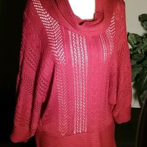 a.n.a. Red sparkle cable lace knit cowl sweater